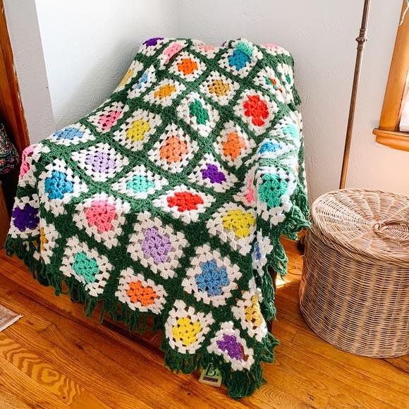 Vintage Hand Made Afghan Blanket